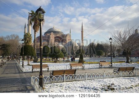 ISTANBUL, TURKEY - JANUARY 09, 2015: View of the mosque Hagia Sophia a sunny january afternoon. Historical landmark of the city Istanbul