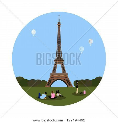 Eiffel tower icon isolated on white background. Vector illustration for famous building design. Travel tour postcard. With blue sky and green grass. French landmark symbol. Touristic paris sign