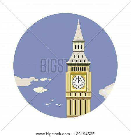 Big Ben tower closeup with clouds icon isolated on white background. Vector illustration for famous building design. Travel tour postcard. With blue sky. England landmark symbol. Touristic london sign