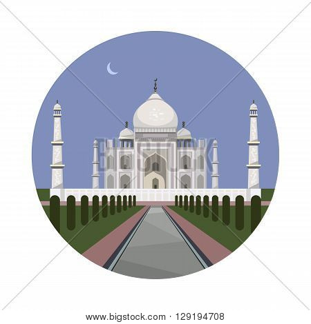 Taj Mahal icon isolated on white background. Vector illustration for famous india building design. Travel minaret islam postcard. Palace asia landmark symbol. Touristic architecture temple