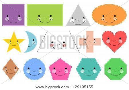Cartoon basic geometric shapes. Smiling shapes. Isolated on white background. Design elements for children