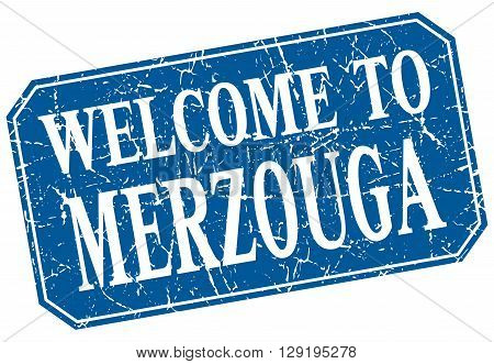 welcome to Merzouga blue square grunge stamp