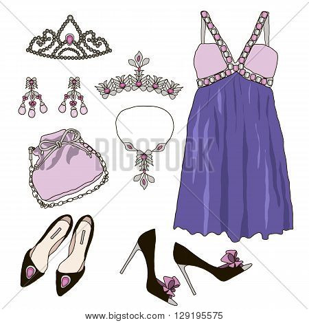 Woman wardrobe accessories set. Collection of princess purple dresses, bags, shoes and accessories. Fashion boutique poster. Vector illustration, isolated on background. Modern clothes for a party