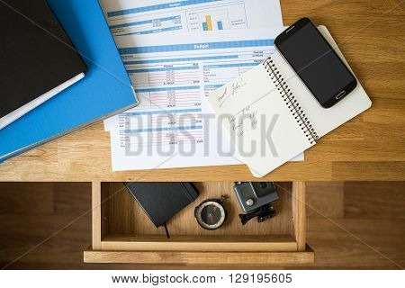 Office Accounting Stuff Vacation Concept Background