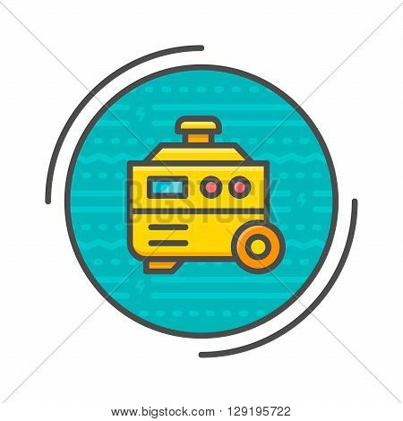 Electric generator concept isolated on white. Vector illustration