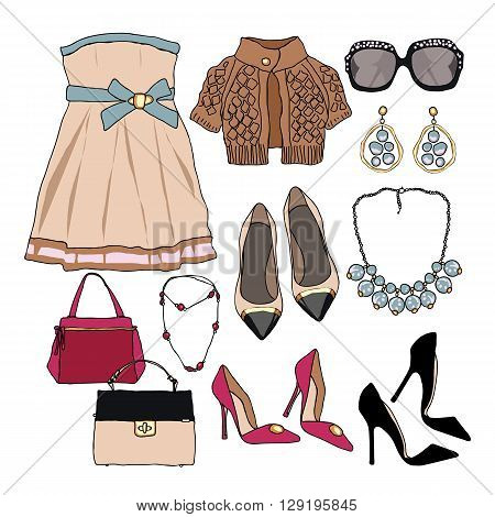 Woman wardrobe accessories set. Collection of cute princess dresses, bags, shoes and accessories. Fashion boutique poster. Vector illustration, isolated on background. Modern clothes for a party