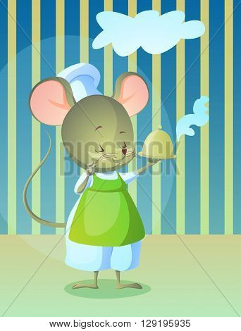 vector ilustration of cute character. mouse cook with a hot dish
