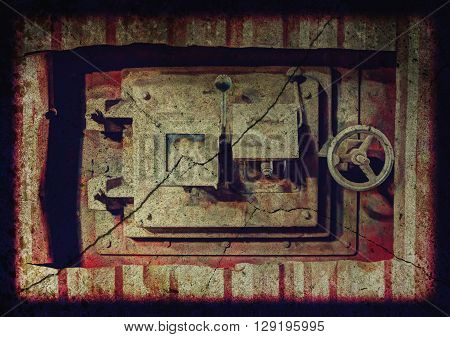 Horizontal image of a rusted tank hatch in an abandoned factory.