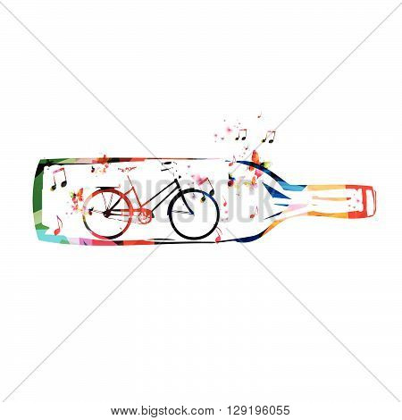 Colorful vector of bottle with bicycle inside