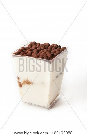Tiramisu dessert in a cup on white background
