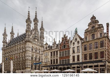 Grote Markt (Main Market) square with town hall Leuven Belgium