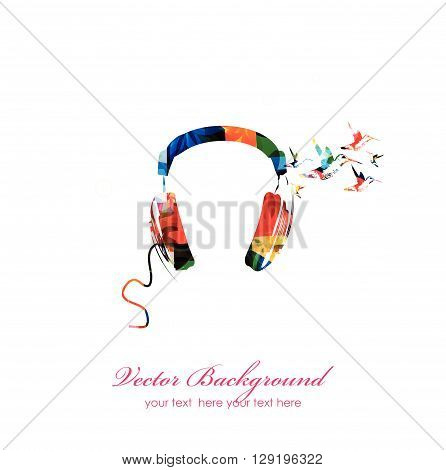 Vector illustration of colorful headphones with hummingbirds