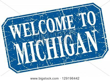 welcome to Michigan blue square grunge stamp