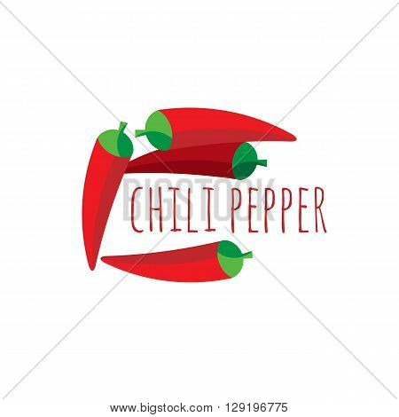 red chilli and lettering computer icon web button business badge or label as sticker on white background