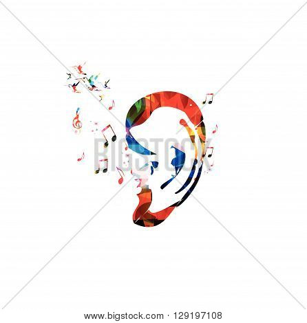 Vector illustration of colorful ear with hummingbirds
