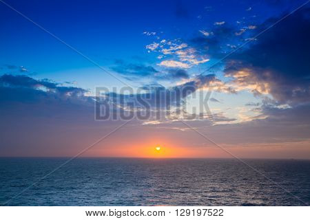 Sun set at the gulf of Thailand Oil and Gas concession.