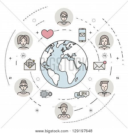Social network and teamwork concept. People communication concept with male and female avatars and social network icons. Flat thin line design. EPS 10.