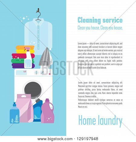 Illustration of laundry with a washing machine pure white shirt some colourful towels iron detergents brush and sponge.