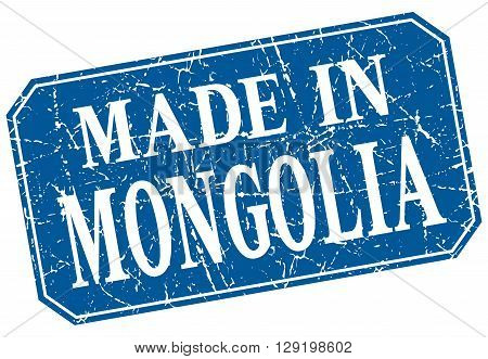 made in Mongolia blue square grunge stamp