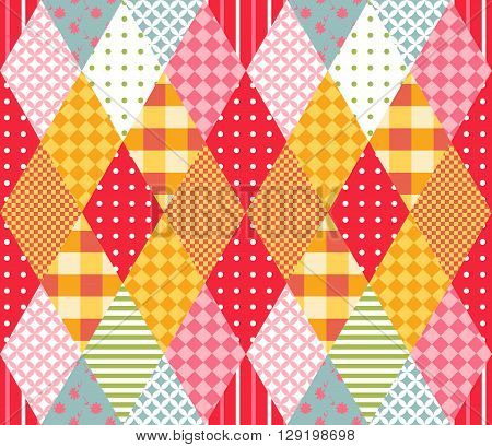 Patchwork seamless pattern with rhombs. Vector illustration of quilt. Geometric background.