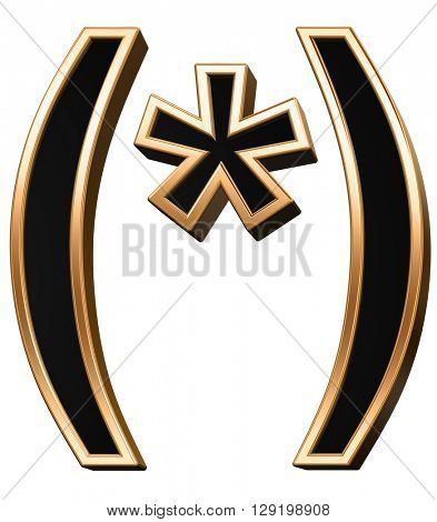 Parenthesis, asterisk from black with copper shiny frame alphabet set, isolated on white. 3D illustration.
