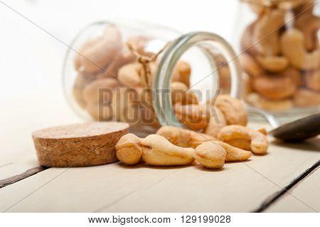 Cashew Nuts On A Glass Jar