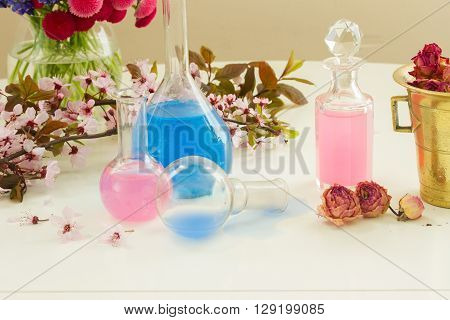 Dry  and fresh flowers with  vials  of tincture or oil, aromatherapy concept