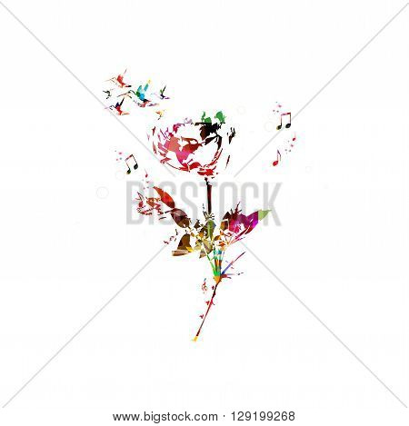 Vector illustration of colorful rose with hummingbirds