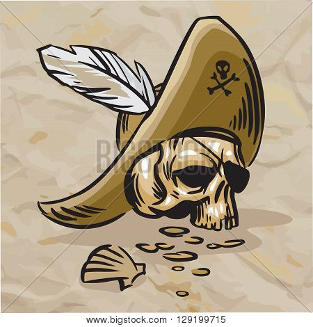 Skull in the hat with a white feather