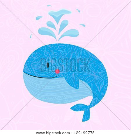Whale with font. Vector illustration of whale with fountain. Use foe baby shampoo, textile or your design