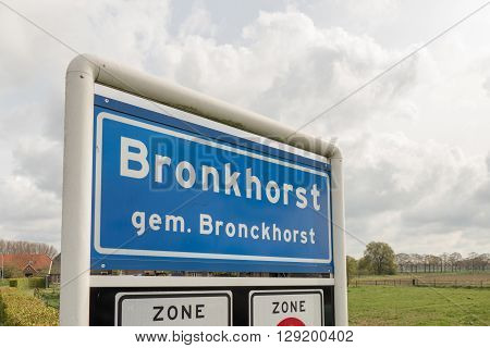 NETHERLANDS - BRONCKHORST - MEDIO APRL 2016: Bronckhorst place name plate a small city in The Netherlands with city rights.