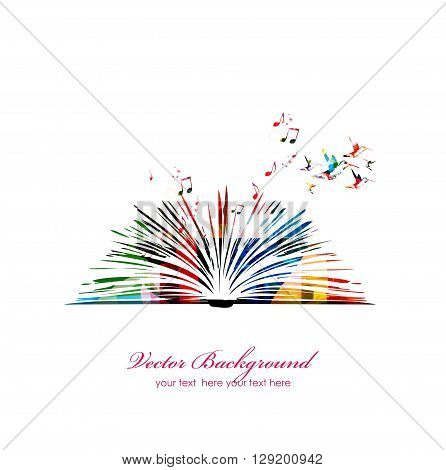 Vector illustration of colorful book with hummingbirds