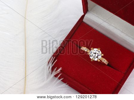 Jewelry wedding ring with diamond in gift box