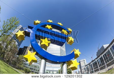 The Euro Sign On A Sunny Day, Frankfurt Am Main, Germany
