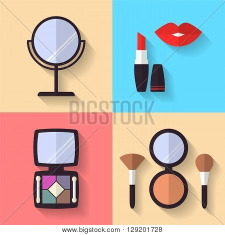 Cosmetic and Makeup Vector flat Icons Set. Lipstick, eye shadows, powder, makeup brushes, mirror. Beauty products.