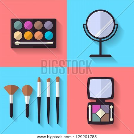 Cosmetic and Makeup Vector flat Icons Set . Eye shadows, makeup brushes, mirror. Beauty products.
