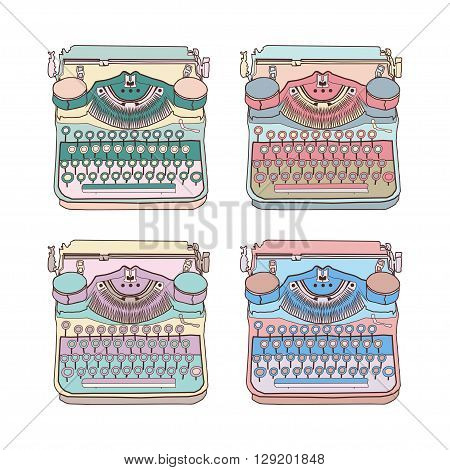 Set of 4 pastel vintage typewriters vector illustrations inspire writers screenwriters copywriters and other creative people.