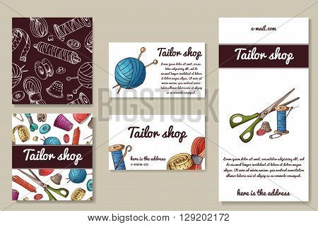 Business corporate set with sewing tools. Tailor design shop, hand drawn illustration. Sketch design for sewing studio