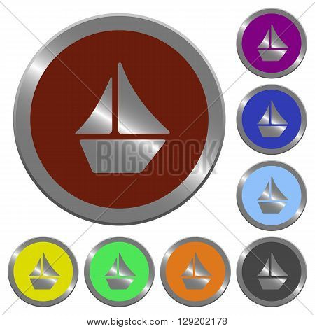 Set of color glossy coin-like sailboat buttons.