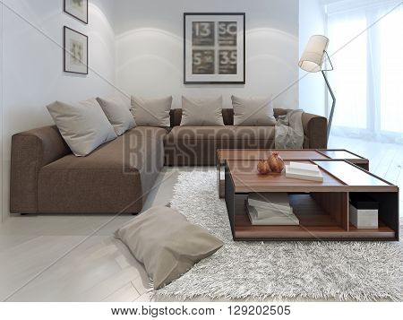 Fusion style in interior of a private house. 3D render