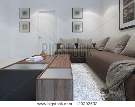 Modern sitting room trend, r-shaped sofa with low table. 3D render