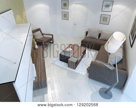 View of contemporary living room with floor lamp brown furniture white walls and flooring. Unusual shape of room. 3D render