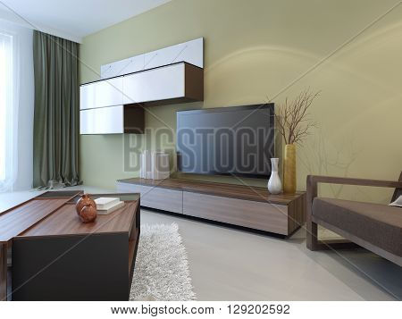 Modern wall system in lounge room interior. 3D render