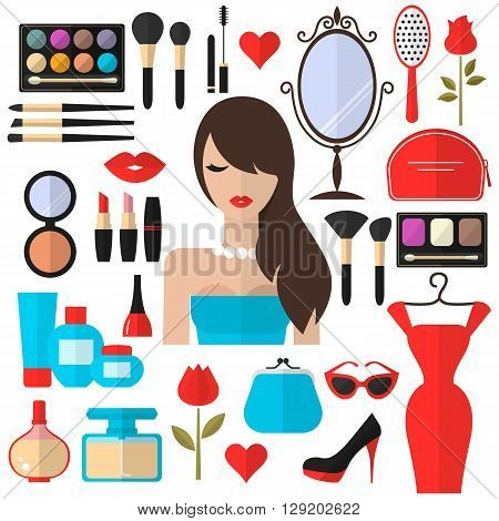Beauty, Cosmetic and Makeup Vector flat Icons Set . Beautiful fashion woman flat icon. Cosmetic products, makeup brushes, lipstick, perfume, eye makeup. Women accessories. Fashion icons.
