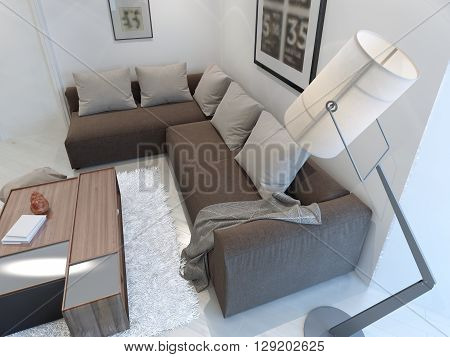 White inrerior of large lounge. 3D render