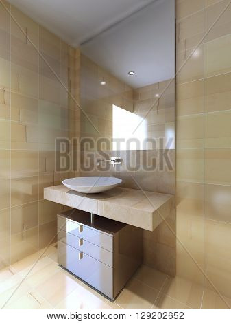 A modern bathroom with sink console in beige and navajo white. 3D render