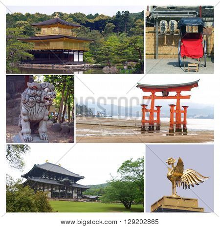 Famous japanese destination for tourists in collage