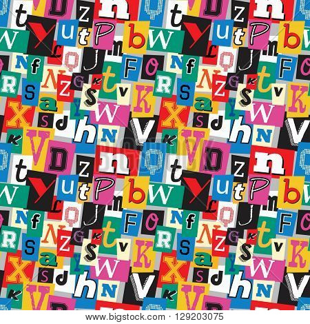 Vibrant multicoloured kidnapper ransom note seamless pattern. Fun background with letters for decoration, background and print.