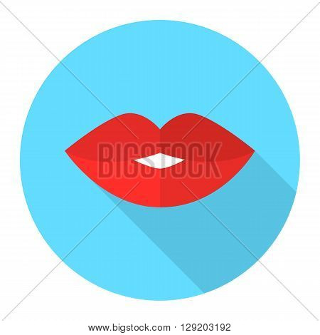 Sexy woman lips vector flat icon with long shadow. Red lips kiss.