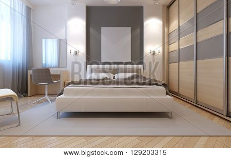Master bedroom avangard design. Soft double bed dressing table closet with sliding doors. 3D render